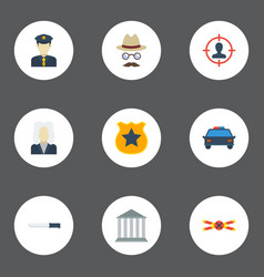 Flat icons suspicious police car bayonet and vector