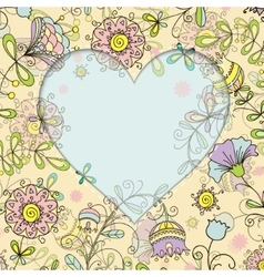 frame with floral pattern and heart doodle style vector image
