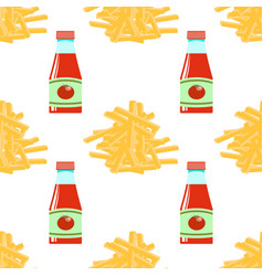 French fries and ketchup fry potato seamless vector