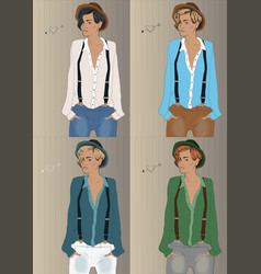 Girls with colorful shirts and hats hipster look vector