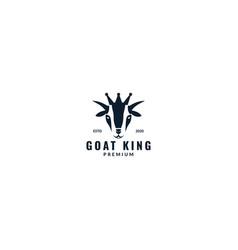 Goat with crown logo design modern vector
