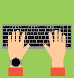 Hands typing on keyboard vector