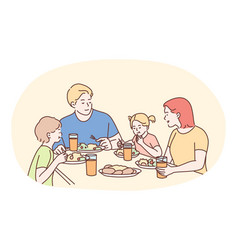 happy family having dinner or breakfast together vector image