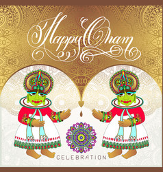 Happy onam golden greeting card design with two vector