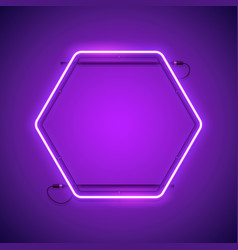 hexagonal purple neon frame vector image