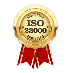 iso 22000 standard certified rosette - food safety vector image