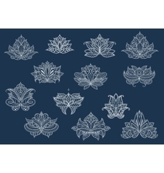 Isolated paisley flowers set in outline style vector image