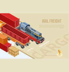 isometric banner for rail freight vector image