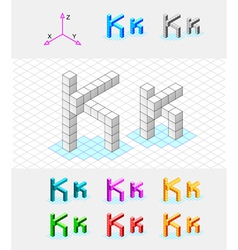 Isometric font from cubes letter k vector