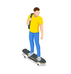 Isometric skateboard or longboard isolated vector
