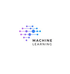 machine learning logo neurons connections vector image
