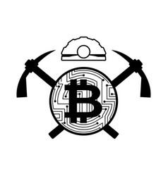 mining bitcoin logo meiner emblem helmet and vector image