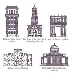 modavia or moldova landmarks in thin line vector image