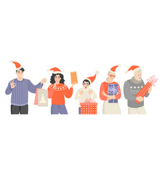 people different ages in santa claus hats vector image