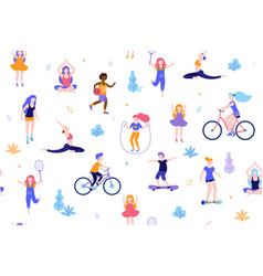 people in park seamless pattern white vector image