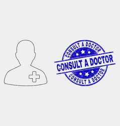pixelated doctor icon and grunge consult a vector image