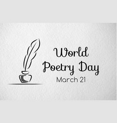 poetry day greeting banner paper texture vector image