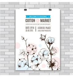 Poster with hand draw stems of cotton plants vector