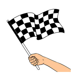 Racing flag in hand pop art vector