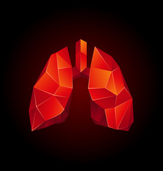 Red low poly human lungs on a black background vector
