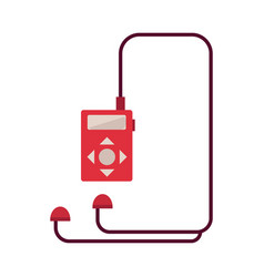 red music player with headphones isolated on white vector image
