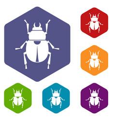 scarab icons set hexagon vector image