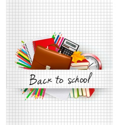 School supplies on a paper Education background vector