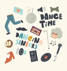 set icons senior dancing theme stroboscope vector image