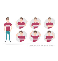 set of emotions and gestures to the young man vector image