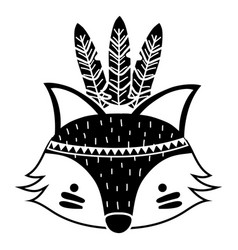Silhouette cute fox head animal with feathers vector
