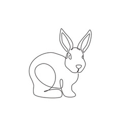 single continuous line drawing funny rabbit vector image