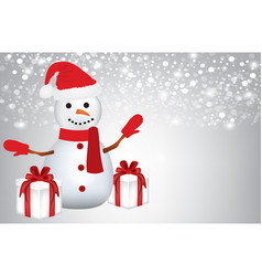 snowman with presents on blurred background vector image