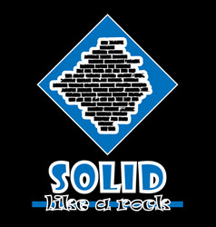 Solid like a rock abstract blue style flat logo vector