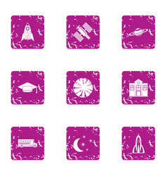 space knowledge icons set grunge style vector image