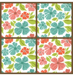 Spring set seamless patterns vector image