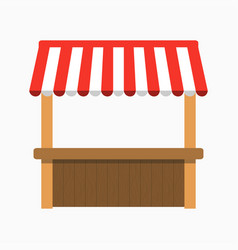 street stall with awning kiosk with wooden rack vector image