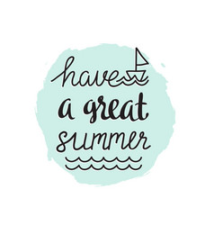summer banner hand drawn with stylish calligraphy vector image
