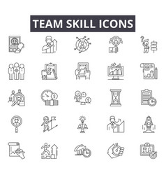 Team skill line icons for web and mobile design vector