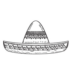 Traditional mexican hat sketch vector