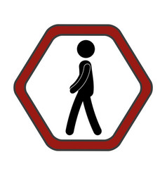 Traffic signal pedestrians on road vector