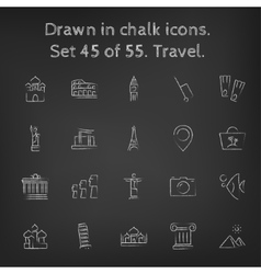 Travel icon set drawn in chalk vector