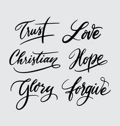 Trust and hope handwriting calligraphy vector