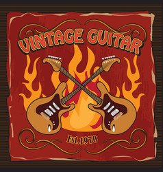 vintage guitar rock poster t-shirt hand drawn vector image