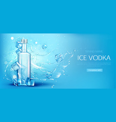 Vodka bottle with ice cubes mockup promo banner vector