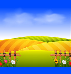Wheat field scenery vector