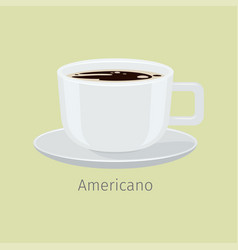 White cup on saucer with americano flat vector