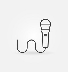 Wired microphone linear icon vector