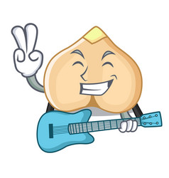 With guitar chickpeas mascot cartoon style vector