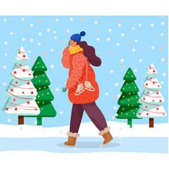 Woman walk in forest winter festive fir trees vector