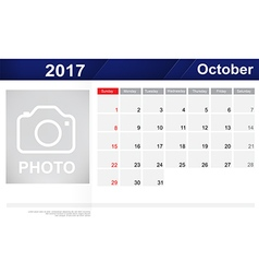 Year 2017 October month simple and clear design vector